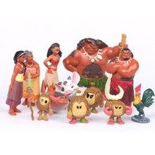 Moana Action Figures Toys Heihei Tamatoa Chief Tui Sina Tala 12Pcs/Set Gift Doll Plastic Anime Action Figures Anime Toys Gift