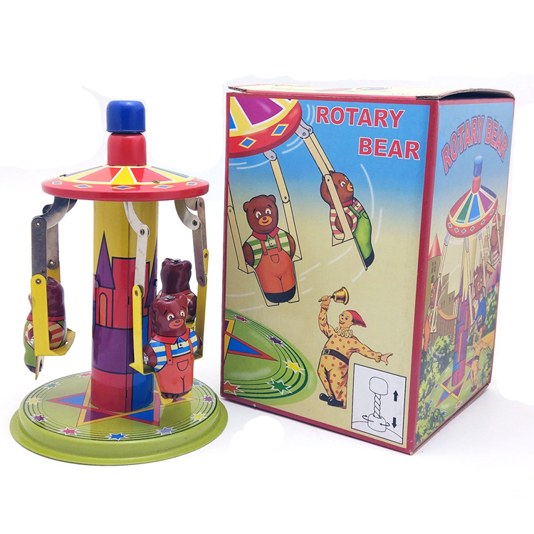 [Funny] Adult Collection Retro Wind up toy Metal Tin amusement park rotary bear Clockwork toy figures model vintage toy gift