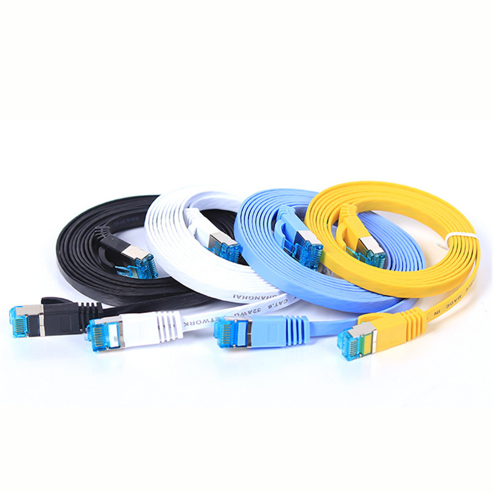 3m Length CAT7-2 Gold-Plated CAT7 Flat Ethernet 10 Gigabit Two-Color Braided Network LAN Cable for Modem Router LAN Network with Shielded RJ45 Connectors