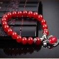 Ubeauty 8 мм агат бусы женская Мода strand браслет Натуральный Красный Камень Эластичный Браслет Тибет Серебряные Аксессуары Ювелирные Изделия