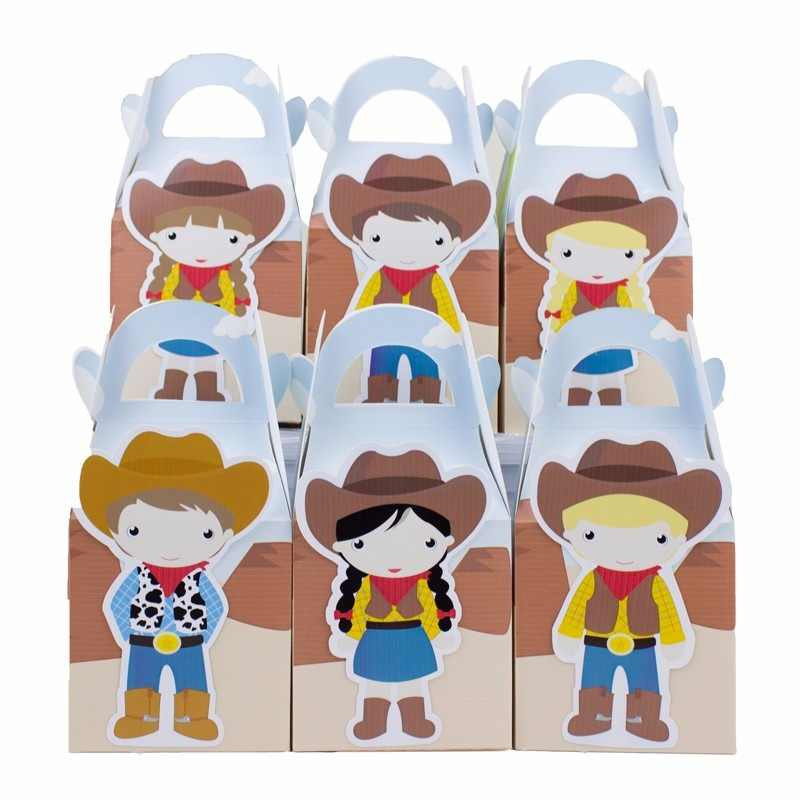 Cowboy and Cowgirl  Favor Box Candy Box Gift Box Cupcake Box Boy Kids Birthday Party Supplies Decoration Party Supplies