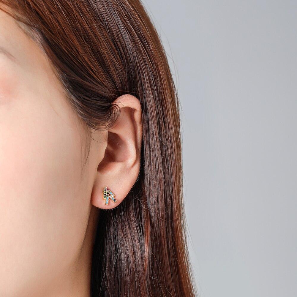 Romantic Stud Earrings Cute Jewelry Simple Zircon Copper Crystal Studs For Women Girl Gifts Color Silver Earrings Wholesale in Stud Earrings from Jewelry Accessories