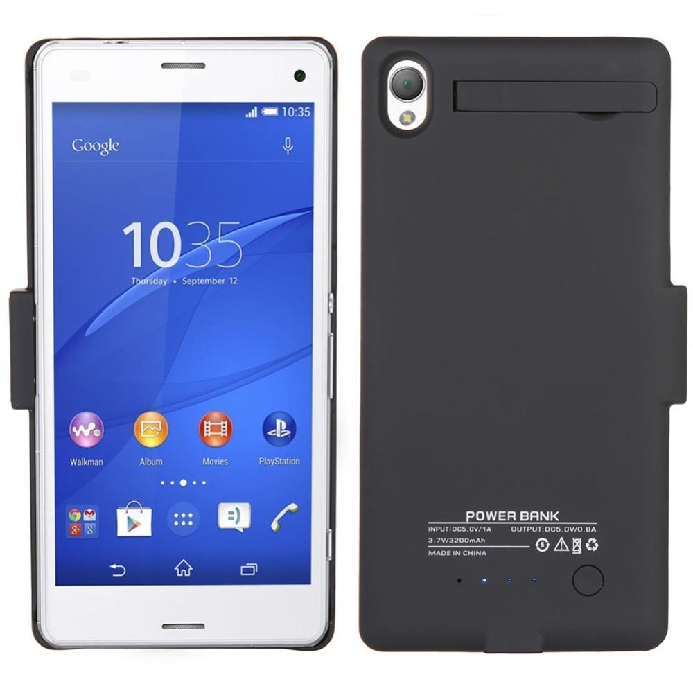 bilder für 3200 mAh Externe Unterstützungsladegerät-fall mit Standplatz-abdeckung Energienbank Fall Für Sony Xperia Z3 batterie fall power