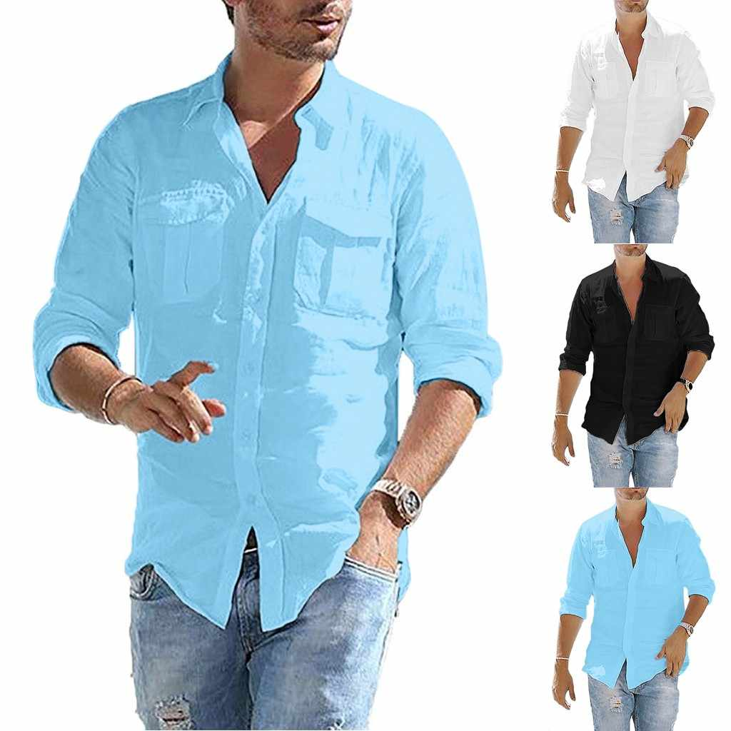 Plus Size mannen Baggy Katoen Linnen Pocket Solid Lange Mouwen Retro Shirts Tops Blouse hawaiian camisa masculina camisas hombre