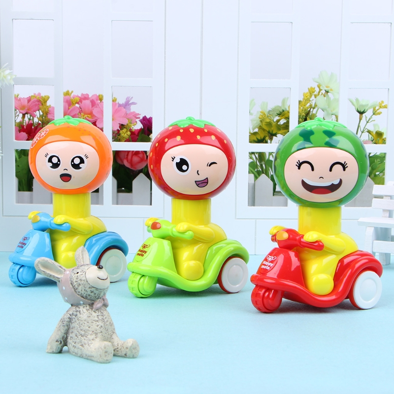 New Funny Toy Novelty Press Head Run Fruit Motorcycle Toys Inertia Car Baby Toys Kids Toy Children Like
