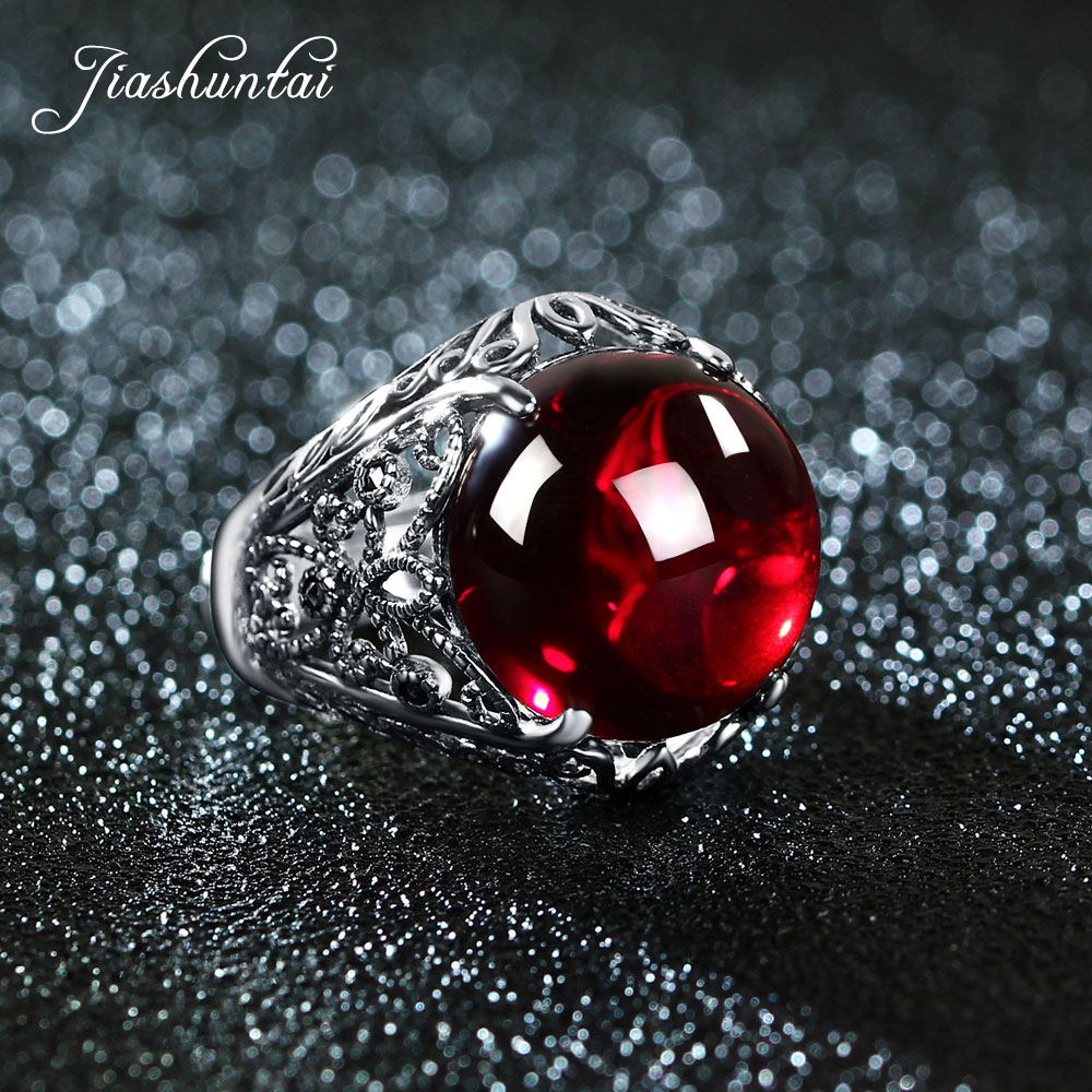 JIASHUNTAI Retro 100% 925 Sterling Silver Rings For Women Round Natural Precious Stones Vintage Thai Silver Ring Jewelry Gifts
