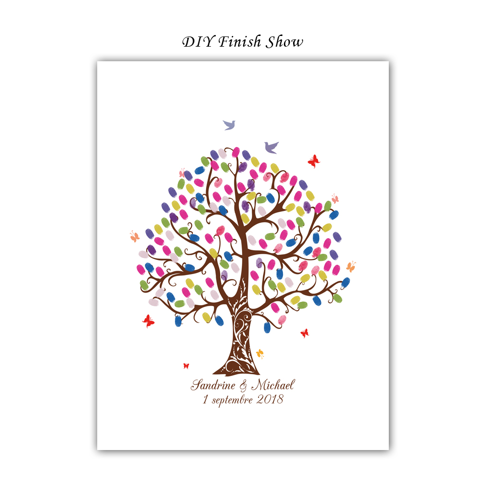 Free-Custom-Name-Date-DIY-Fingerprint-Signature-Guest-Book-Canvas-Print-Wedding-Tree-For-Party-Decoration (3)