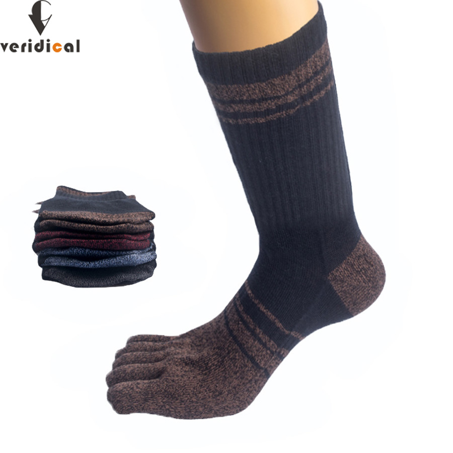 VERIDICAL 2019 Hot Sale Five Fingers Socks Long 5 Pairs/lot Combed Cotton Good Quality Compression Sock 5 Finger Socks Calcetine