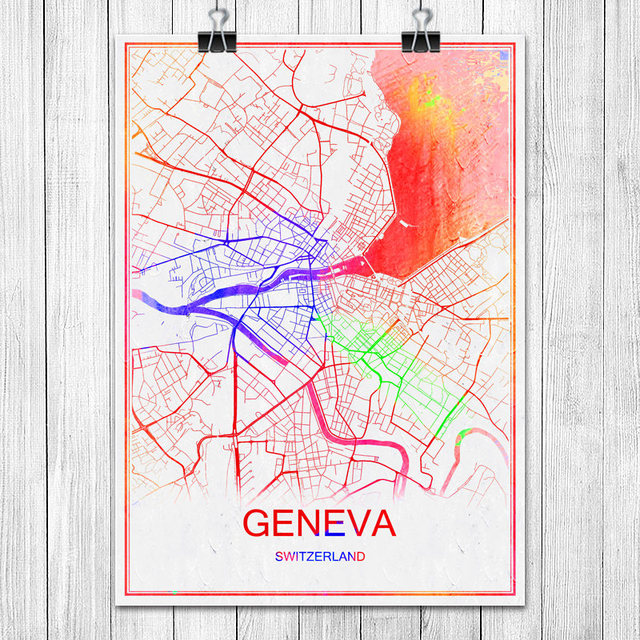 GENEVA Switzerland Colorful World City Map Print Poster Abstract Coated Paper Bar Cafe Living Room Home Decoration Wall Sticker