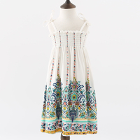 4 To 14T Kids Teenager Big Girls Bohemian Style Flower Print Sleeveless Summer Beach Dress Children