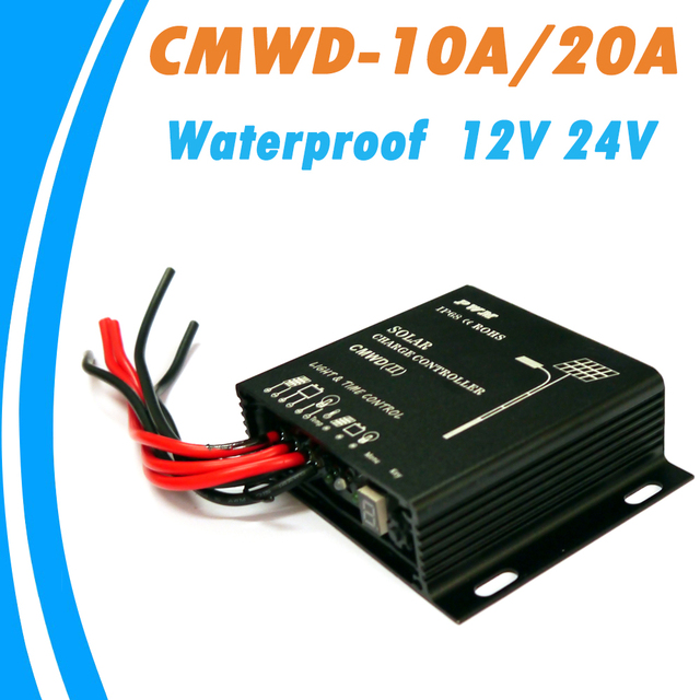 PowMr Waterproof Solar Charge Controller 10A 20A IP68 LED Digital Solar Regulator 12V 24V Auto for DC Solar Street Light System