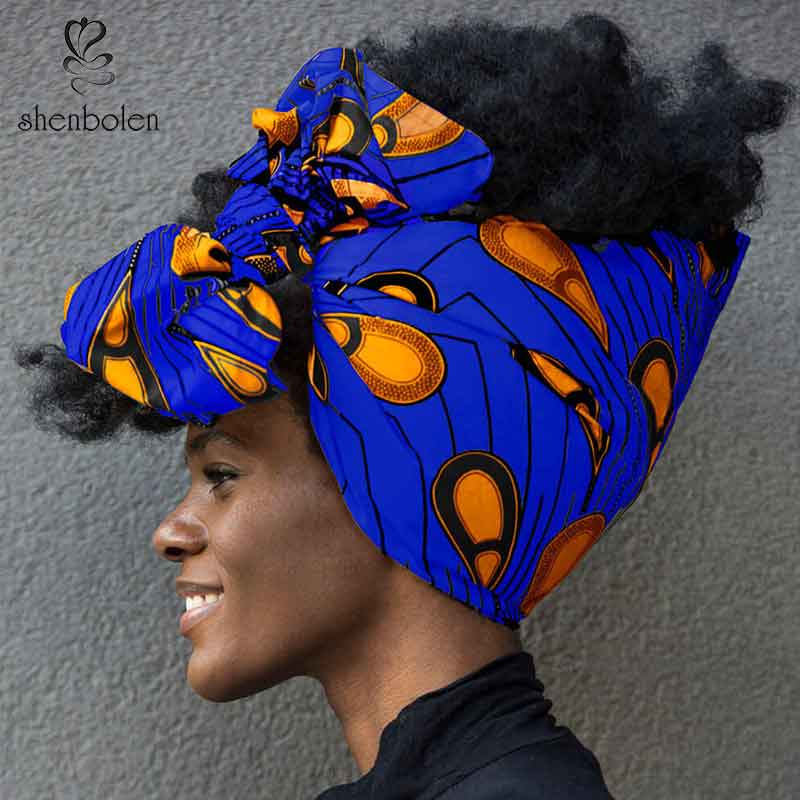 Shenbolen African Headwrap Women Cotton Wax Fabric Traditional Headtie Scarf Turban 100 Cotton Wax 72 x22