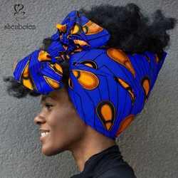 """Shenbolen тюрбан в африканском стиле для женщин хлопок воск ткань традиционный платок тюрбан 100% хлопок 72 """"x 22"""""""