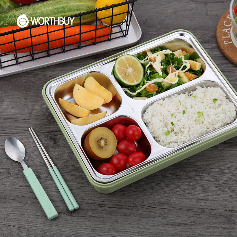 WORTHBUY High-capacity 304 Stainless Steel Lunch Box For Children School Food Container Microwave Bento Box With 4 Compartments