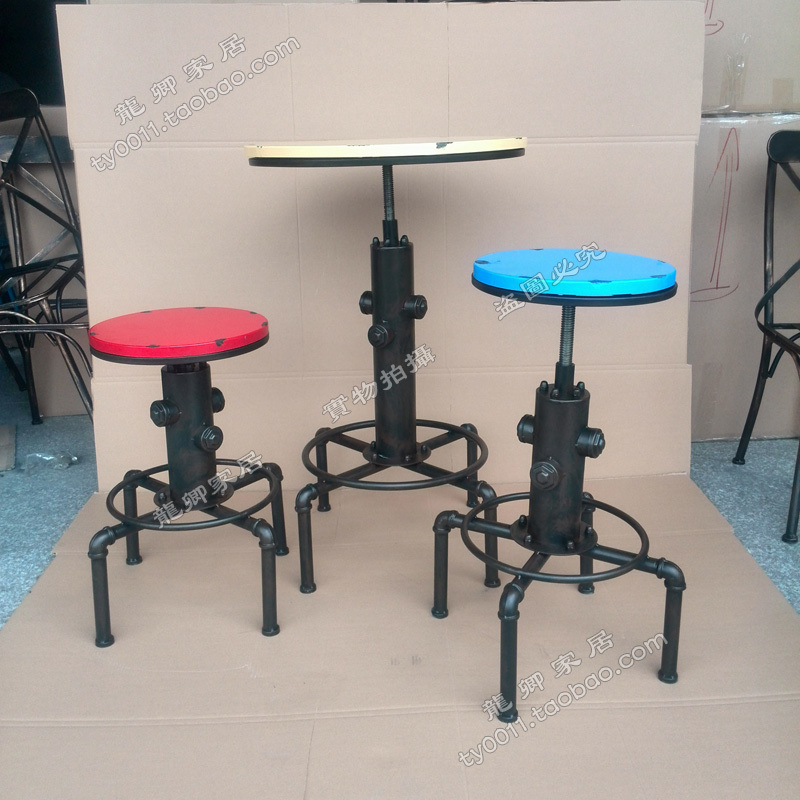 LOFT American Industrial Style Wrought Iron Wood Bar Tables Bar Stool Bar  Chair Lift To Do The Old Retro Imitation Fire Hydrant In Bar Stools From  Furniture ...