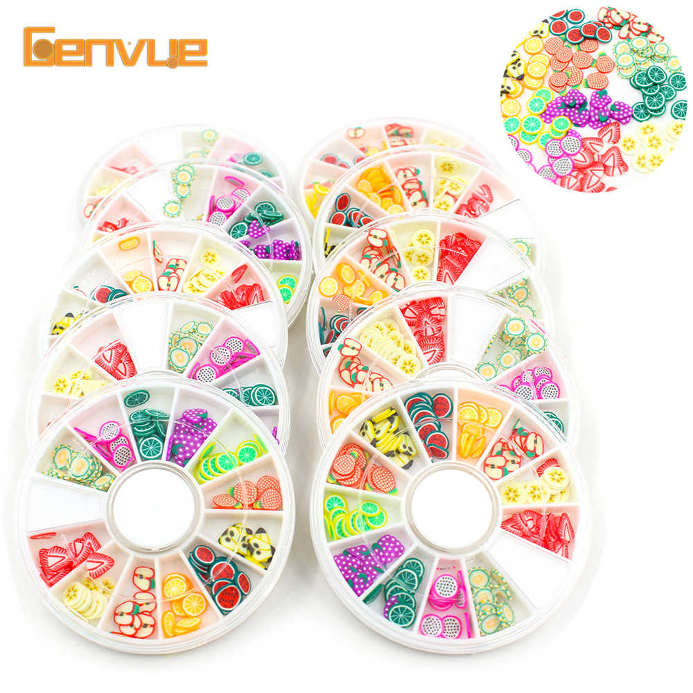 2019 Fruit Fimo Bead Slices Addition for Slime Slide Kit Clay Charms Box Polymer Clear Slime Toy Accessories Putty Clay Nail Art