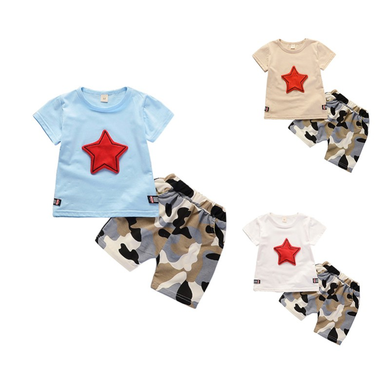 2PCS Kids Suit Boy Girl Clothes Children Summer Toddler Boys Girls Clothing Set Cartoon 2018 New Kids Fashion Cotton Cute Stars