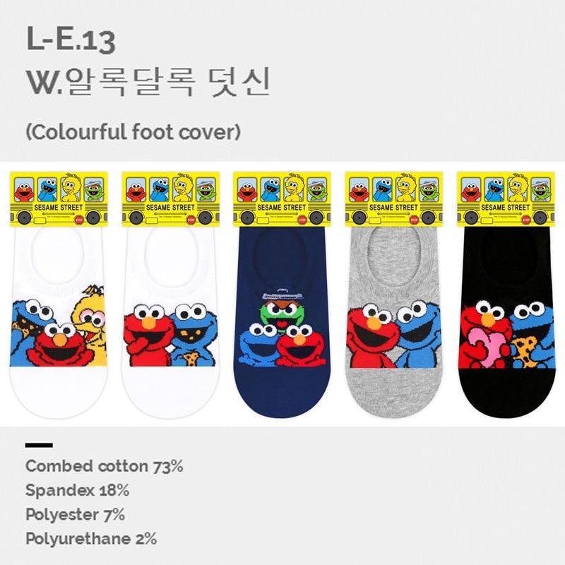 cartoon animal Sesame Street ELMO socks Spring wine black red woman cotton happy short sock novelty creative chaussettes sokken