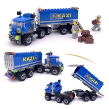 2015 New Original Kazi 163pcs/lot city Truck Building Blocks Sets DIY Deformation Model Toys Bricks Compatible with Lego