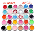 DIY 30 Pcs Pure Solid Color UV Builder Gel Set False Full French Tips Nail Art Salon