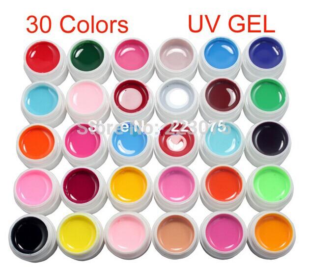 DIY 30 Pcs Pure Solid Color UV Builder Gel Set False Full French Tips Nail Art Salon