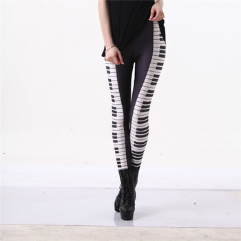 Piano Leggings Black White Stripe 3D Graphic Print Music Keys 12 Styles