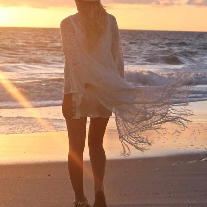 自由奔放に生きる女性フリンジレース着物カーディガン白タッセルビーチカバーアップケープブラウスダーメン bluze