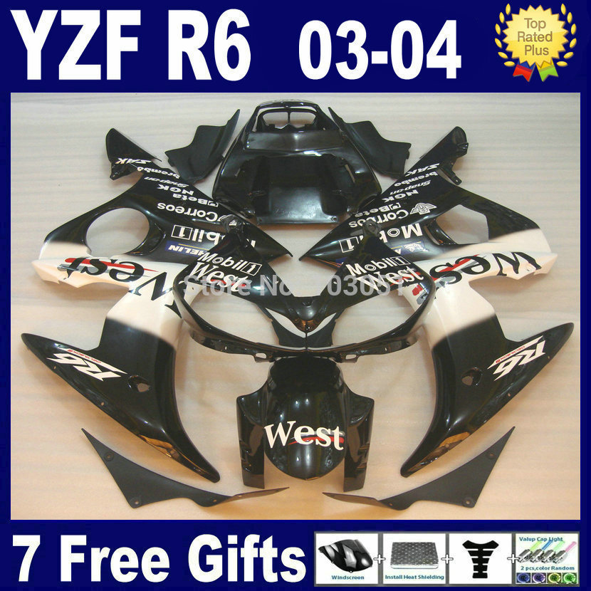 Custom motorcycle Road fairing kits For Yamaha 03 04 05 YZFR6 black west plastics YZF R6 2003 2004 2005  aftermarket Fairings pa road race motorcycle fairings kit for yamaha r6 2003 2004 2005 yzf r6 03 04 05 black silver fairing kits bodywork part