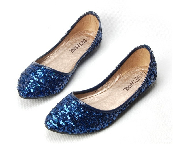 Gold Materiales Punta Cuero Tamaño Verano Señora Grande Zapatos Flattie blue black Suave negro Glitter En Thin 2016 Primavera 4 To10 De Oro azul wAvfR