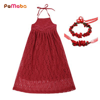 PaMaBa Girls Princess Party Pageant Festival Birthday Event Special Dresses Summer Off Shoulder Backless Halter Strap