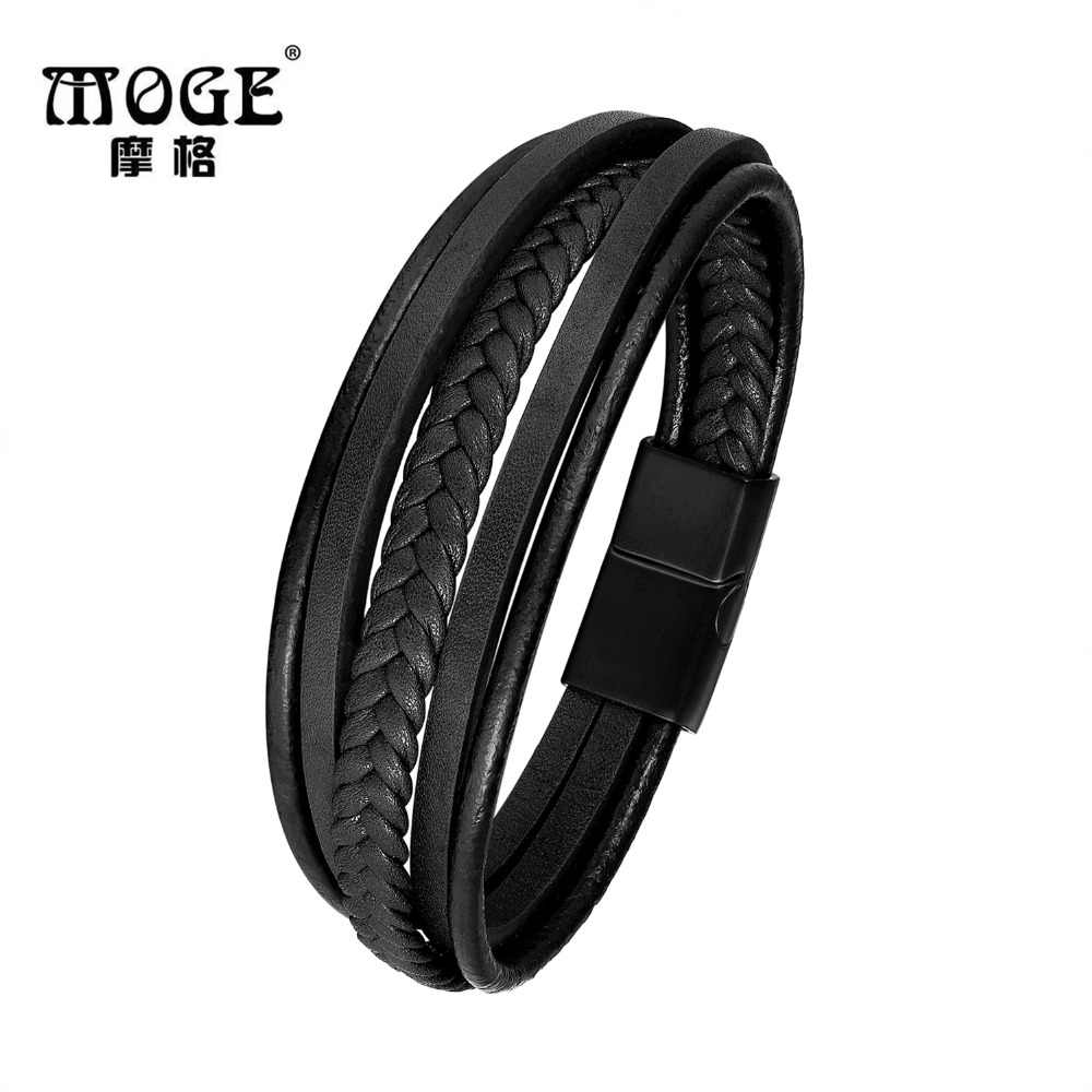 MOGE Trendy Genuine Leather Bracelets Men Stainless Steel Multilayer Braided Rope Bracelets for Male Female Bracelets Jewelry