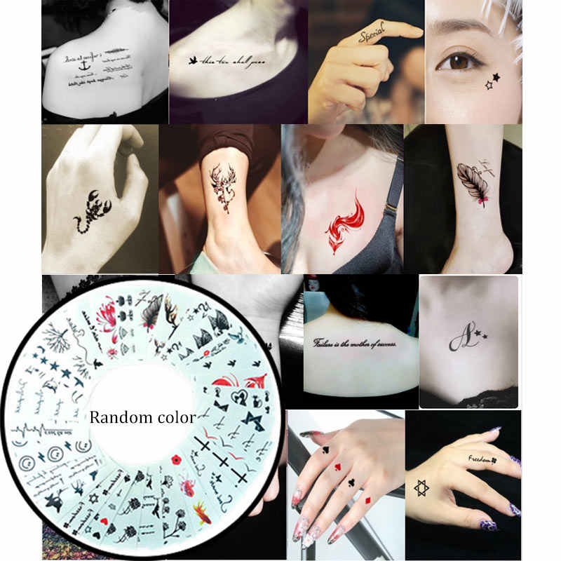 Hot Sale 10/50pcs Temporary Tattoo Stickers Black Arm Water Transfer Tattoo Body Art Stickers Fake Tattoos