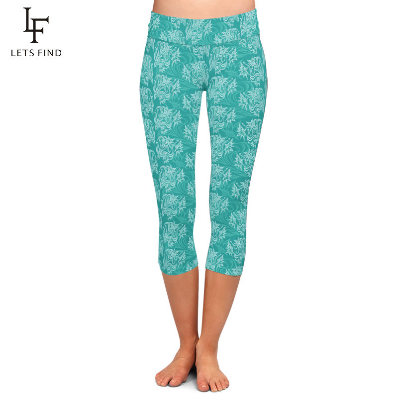 High Quality Women Capri Leggings High Waist Printing Pants 220gsm Double Side Brushed Milk Silk Turquoise Casual Leggings
