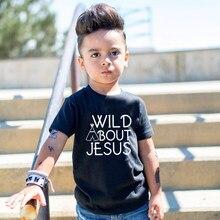 T-shirt à manches courtes pour petites filles, haut à imprimé de jésus, vêtements d'été pour enfants