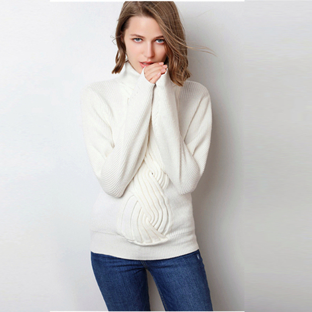 Elegant Woman Winter Clothes For Women 2018 Knitwear Turtleneck Sweater High Quality Regular Sleeves Comfortable Dress