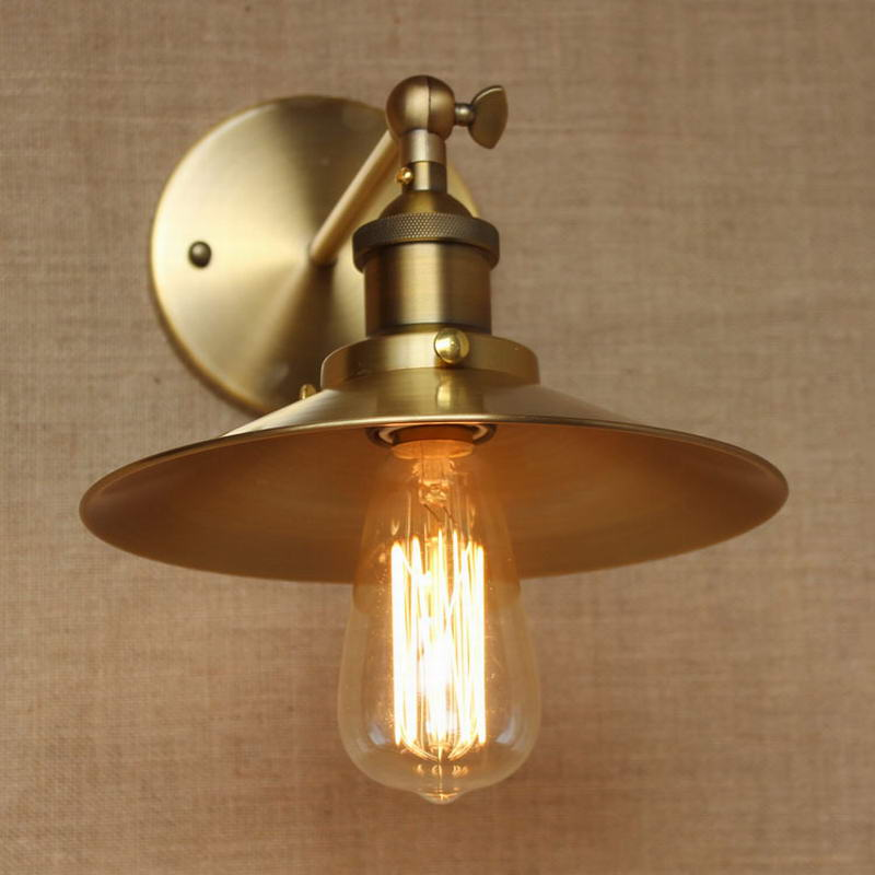 Loft Lamp Lighting Antique Gold Metal Wall Style Adjust For