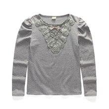 4 T à 12 T enfants et adolescent filles gris blanc dentelle avec perles manches longues coton causal base T – shirt grandes filles automne hiver t-shirts