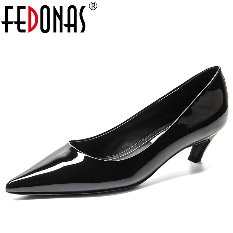 FEDONAS 2019 Women Pumps High Heels Shoes Stiletto Pointed Toe Genuine Leather Shoes Woman Sexy Party Shoes Nude Office Pumps women shoes genuine leather pointed toe high heels women pumps shoes 2018 brand new fashion sexy red women office shoes 2588 a01