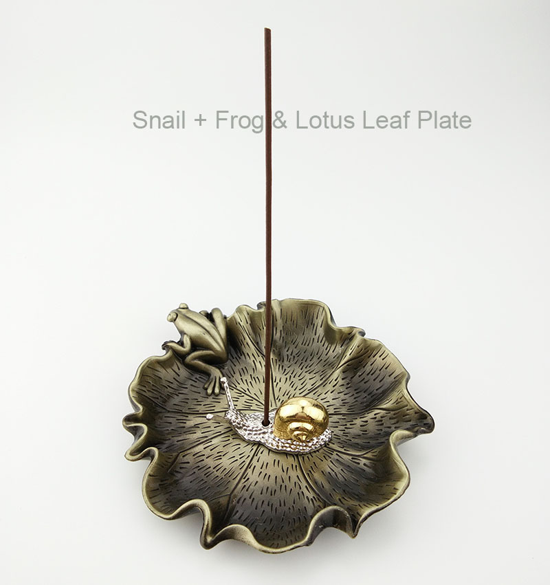 1 conjunto (1 pequena estátua de caracol titular do incenso + 1 placa de incenso) Cobre Decorativa Estátua Inscrição Titular do Incenso / Queimador / Placa