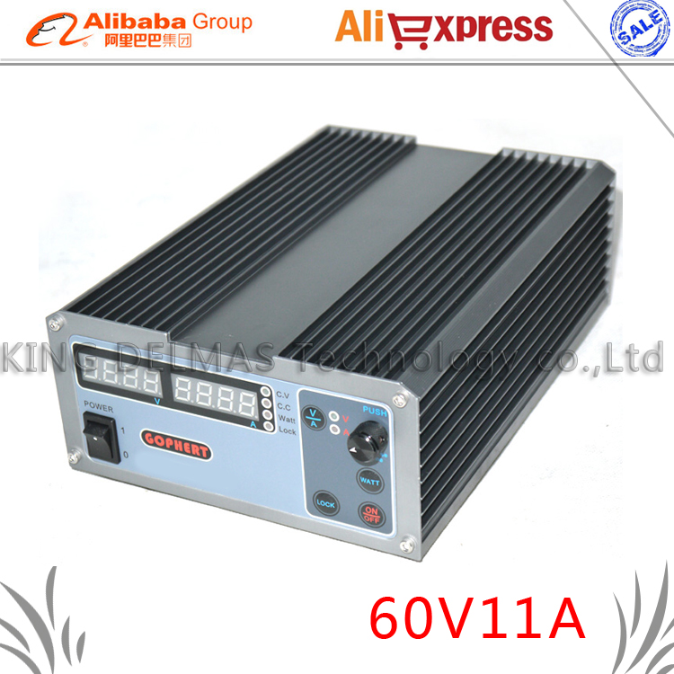 New upgrade Compact Digital Adjustable DC Power Supply OVP/OCP/OTP MCU Active PFC 0-60V 0-11A 170V-264V + EU + Cable cps 6003 60v 3a dc high precision compact digital adjustable switching power supply ovp ocp otp low power 110v 220v