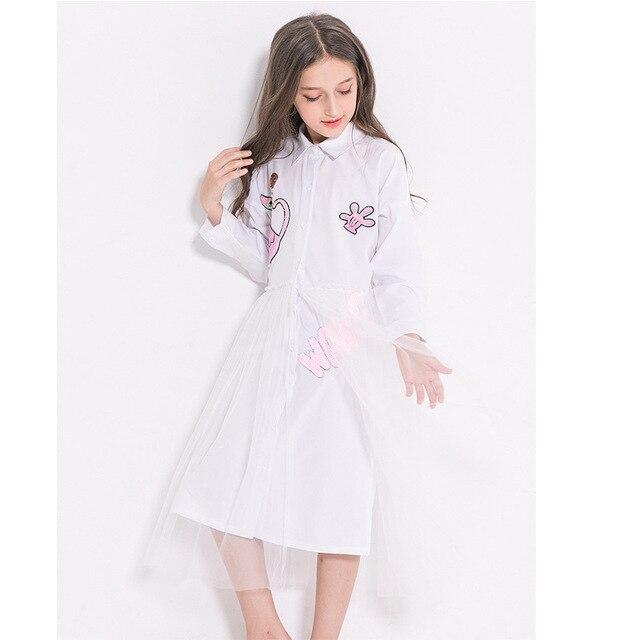 Fashion Girls Long Sleeve Dress Cat Sequined Mesh Dress Teenage Girl Clothing Autumn Winter Dress 10 11 12 13 14 years