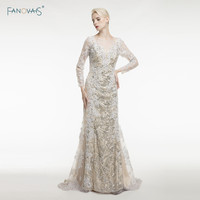 Elegant Long Sleeve Appliques Sequin Mermaid Evening Dresses Floor Length Formal Dresses Vestido De Noiva 2015