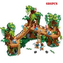 686 шт Minecrafted село лесной замок мост Модель Строительные блоки, совместимые Legoe Minecraft город игрушка для ребенка подарки друг