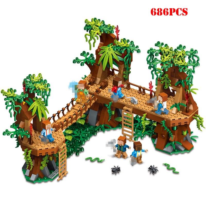 686pcs Minecrafted Village Forest Castle Bridge Model Building Blocks Compatible Legoe Minecraft City Toy For Child Gifts Friend