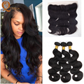 7A Ear To Ear Lace Frontal Closure With Bundles Malaysian Body Wave With Frontal 3 Bundles Malaysian Virgin Hair With Closure