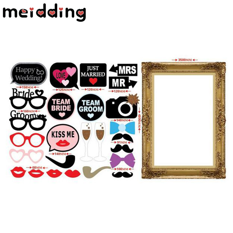 MEIDDING 1Set Funny Bride Groom Wedding Party Photo Booth Props With ...