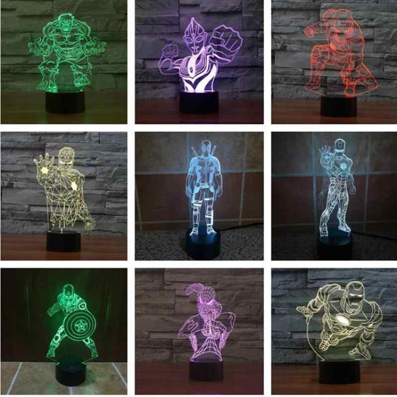 3d ночник Железный человек Acrylique usb настольная лампа Османская обезьяна детский подарок лампа детская комната настольные лампы для гостиной