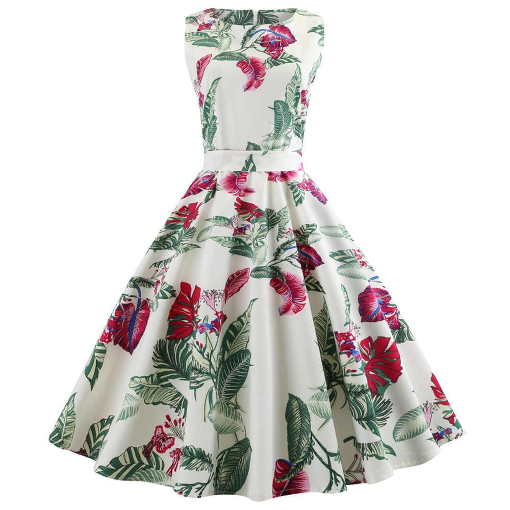 Kenancy Floral Print Summer Women Vintage Dress Round Neck Sleeveless Belts Retro  Dress Party Vestidos 60s 4465debbcf49
