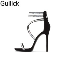Hottest Selling Women Pink Black Color Hollow Out Sandals Summer Crystal Decoration Back Zipper Shoes High Heel Party Pump