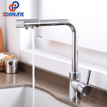 SOGNARE Filter Kitchen Faucets Brass Chrome Drinking Water Faucet for Kitchen Single Handle 360 Rotation Kitchen Tap Water Mixer xoxo filter kitchen faucet drinking water blcak deck mounted mixer tap 360 rotation brass pure filter kitchen sinks taps 81028
